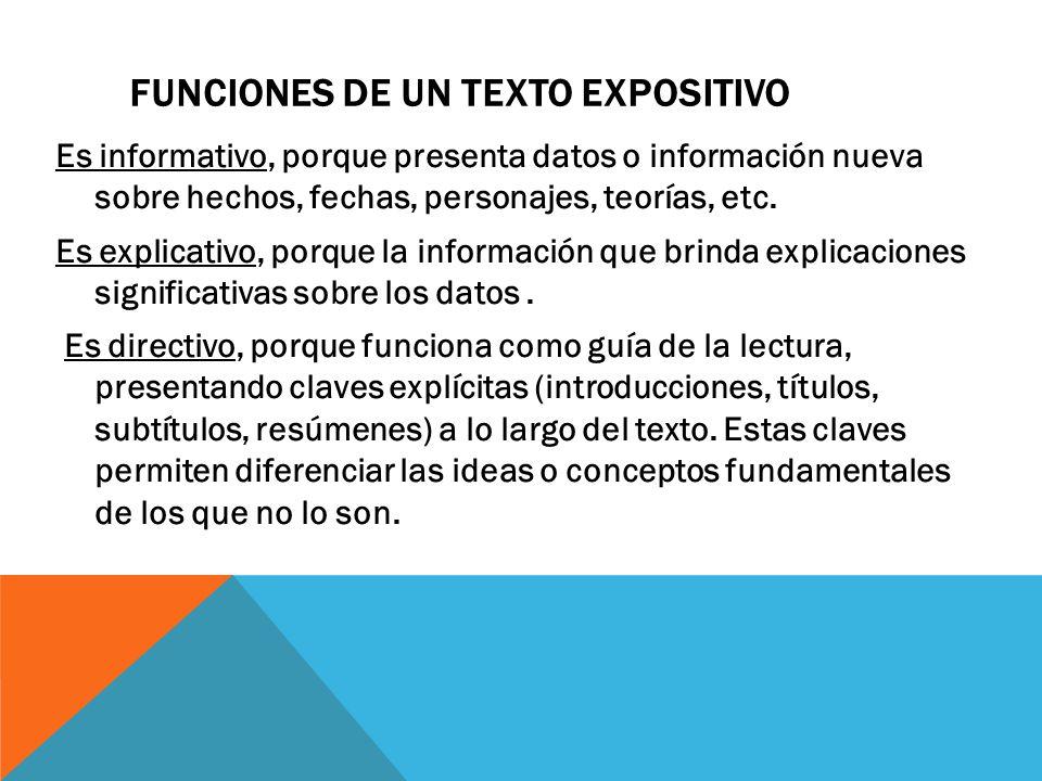 FUNCIONES DE UN TEXTO EXPOSITIVO Es informativo, porque presenta datos o información nueva sobre hechos, fechas, personajes, teorías, etc.