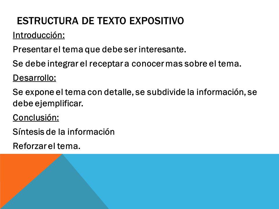 ESTRUCTURA DE TEXTO EXPOSITIVO Introducción: Presentar el tema que debe ser interesante.