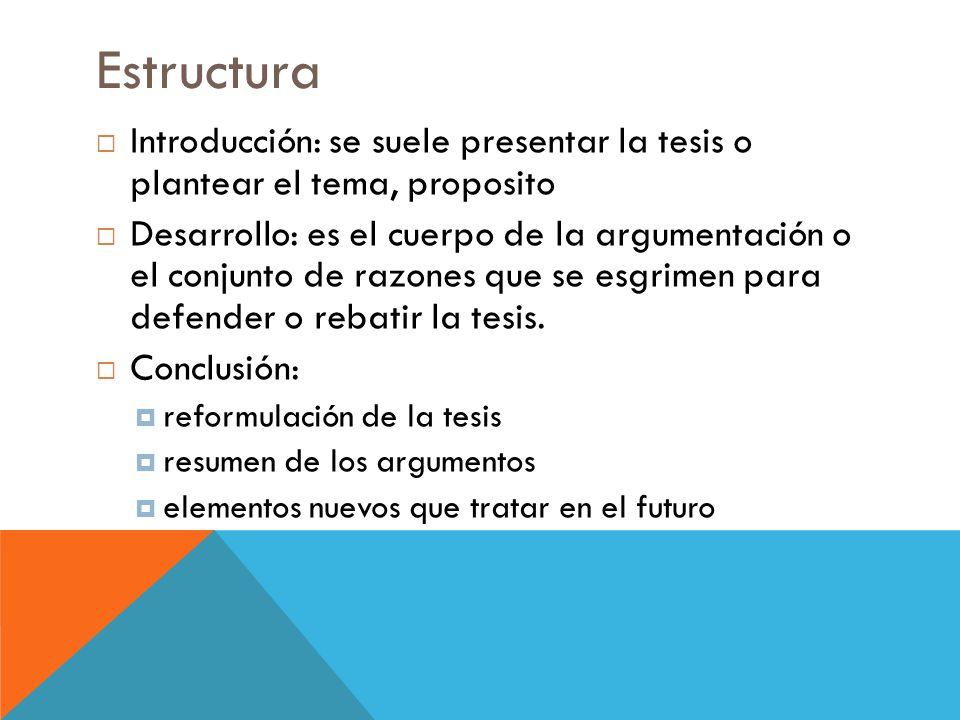 Estructura  Introducción: se suele presentar la tesis o plantear el tema, proposito  Desarrollo: es el cuerpo de la argumentación o el conjunto de razones que se esgrimen para defender o rebatir la tesis.