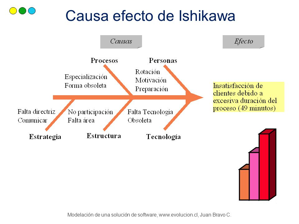Modelación de una solución de software, www.evolucion.cl, Juan Bravo C. Causa efecto de Ishikawa