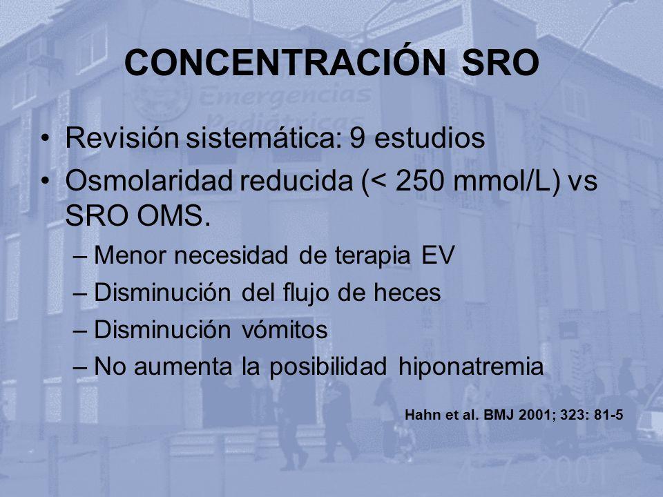 CONCENTRACIÓN SRO Revisión sistemática: 9 estudios Osmolaridad reducida (< 250 mmol/L) vs SRO OMS. –Menor necesidad de terapia EV –Disminución del flu