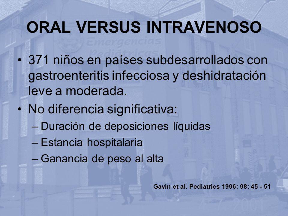 ORAL VERSUS INTRAVENOSO 371 niños en países subdesarrollados con gastroenteritis infecciosa y deshidratación leve a moderada. No diferencia significat
