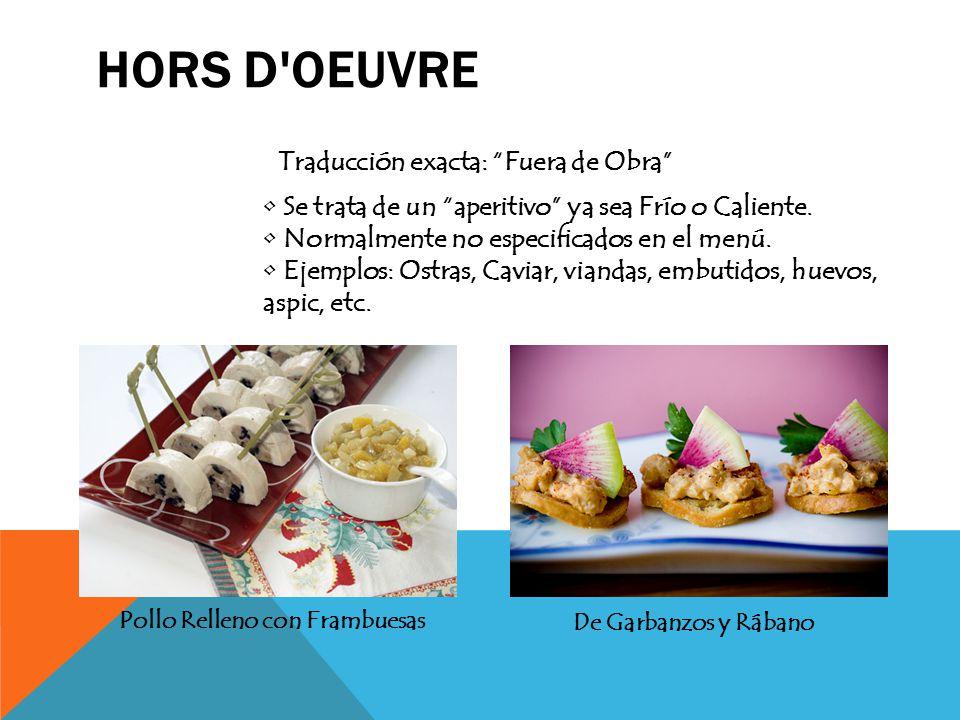 """HORS D'OEUVRE Traducción exacta: """"Fuera de Obra"""" Se trata de un """"aperitivo"""" ya sea Frío o Caliente. Normalmente no especificados en el menú. Ejemplos:"""