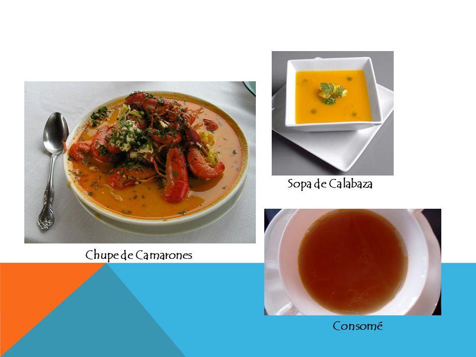 Sopa de Calabaza Chupe de Camarones Consomé