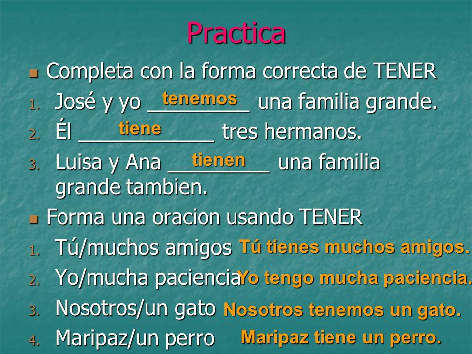 Practica Completa con la forma correcta de TENER Completa con la forma correcta de TENER 1.