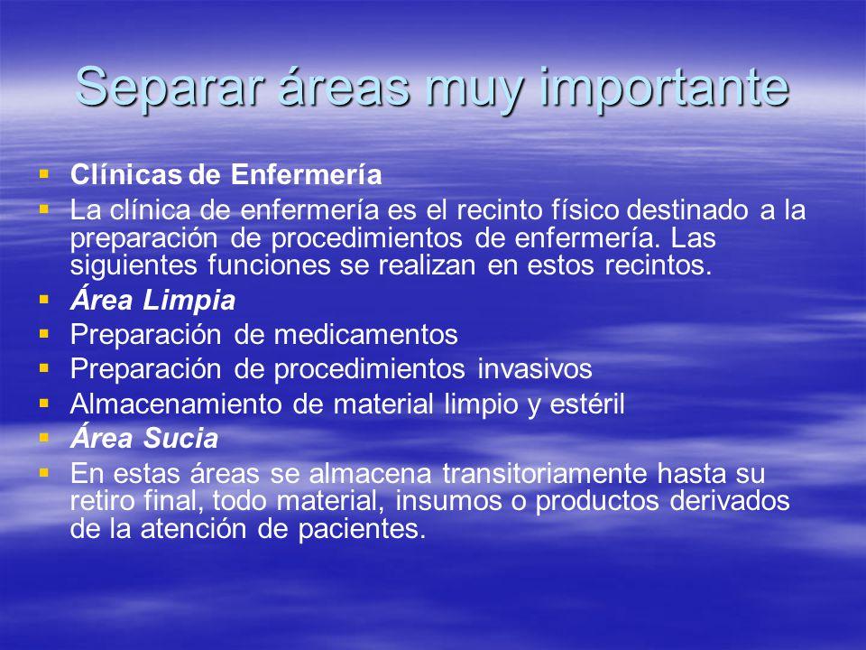 Separar áreas muy importante   Clínicas de Enfermería   La clínica de enfermería es el recinto físico destinado a la preparación de procedimientos