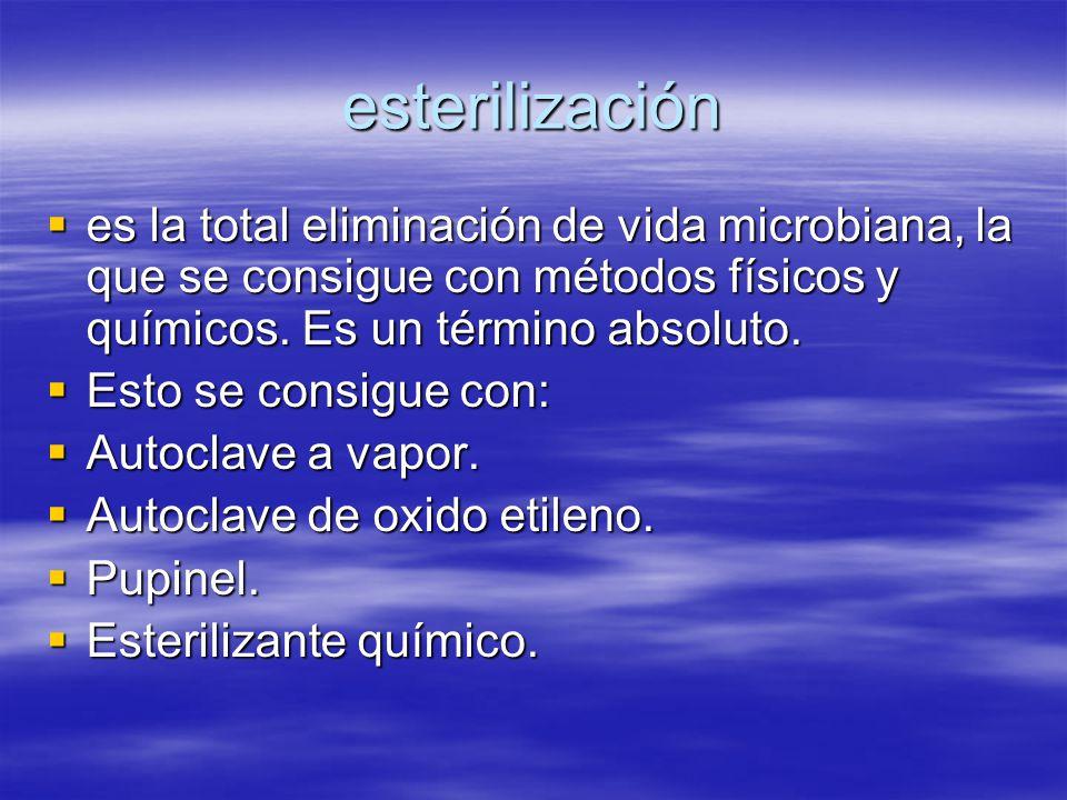 esterilización  es la total eliminación de vida microbiana, la que se consigue con métodos físicos y químicos. Es un término absoluto.  Esto se cons