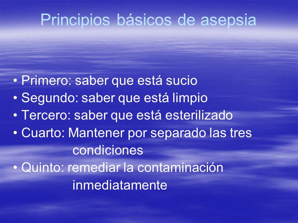 Principios básicos de asepsia Primero: saber que está sucio Segundo: saber que está limpio Tercero: saber que está esterilizado Cuarto: Mantener por s