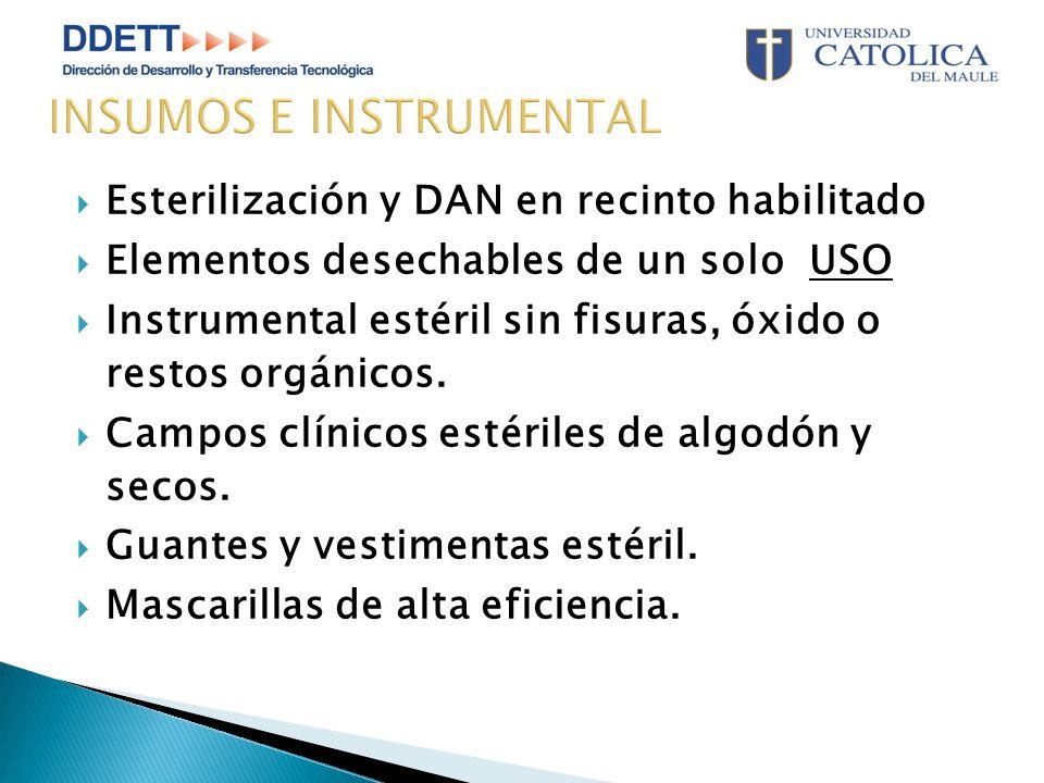 Esterilización y DAN en recinto habilitado  Elementos desechables de un solo USO  Instrumental estéril sin fisuras, óxido o restos orgánicos.