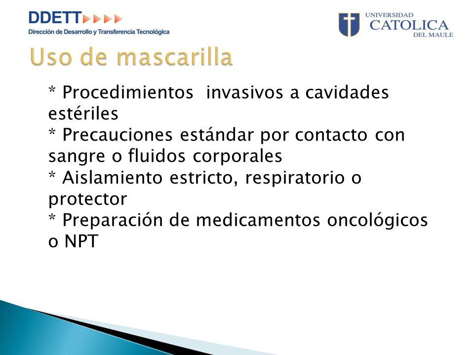 * Procedimientos invasivos a cavidades estériles * Precauciones estándar por contacto con sangre o fluidos corporales * Aislamiento estricto, respiratorio o protector * Preparación de medicamentos oncológicos o NPT