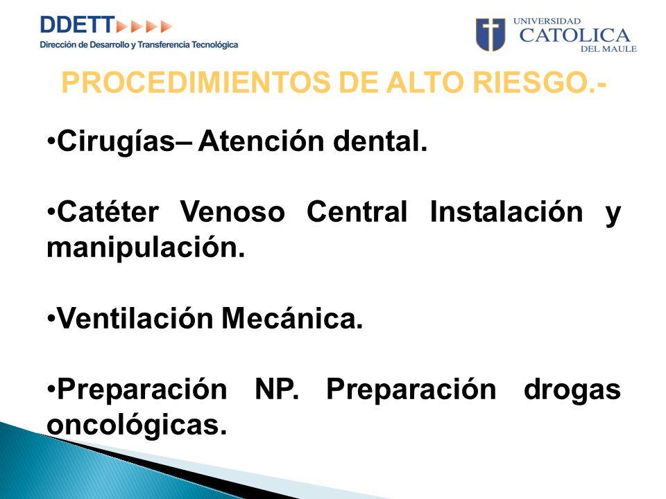 PROCEDIMIENTOS DE ALTO RIESGO.- Cirugías– Atención dental.