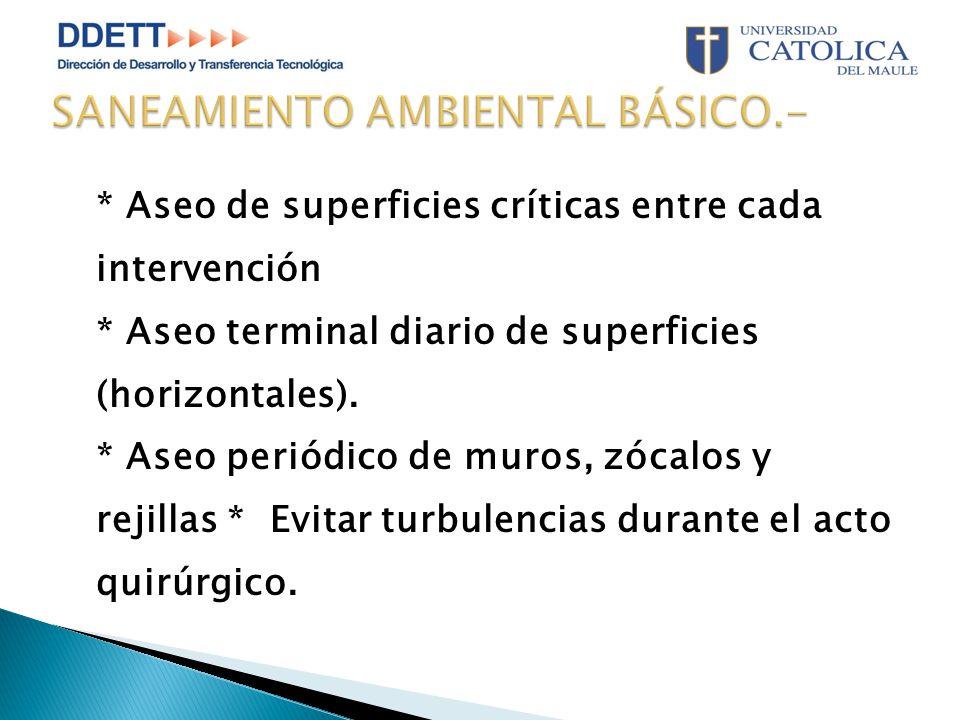 * Aseo de superficies críticas entre cada intervención * Aseo terminal diario de superficies (horizontales).
