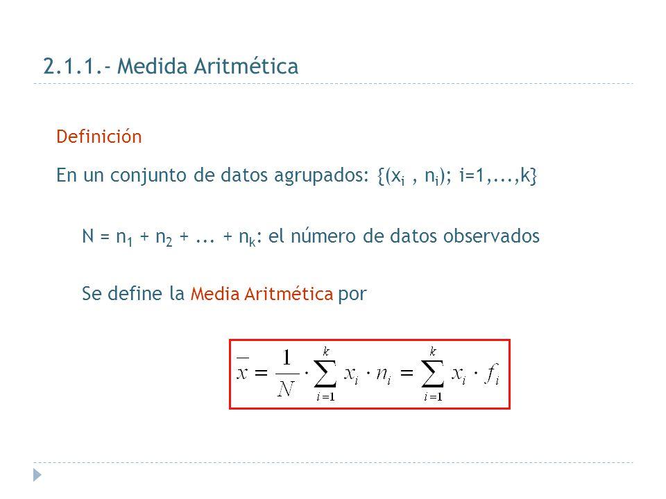Pasos a seguir en su cálculo: Ordenamos de forma creciente los datos: Si m < N/2  m+1 con m entero Me = x (m+1) 2.1.4 Mediana Distribuciones discretas Ejercicio: 2, 3, 3, 3, 5, 6, 6, 7 y 9  N / 2 = 4,5  4 < 4,5 < 5  Me = x (m+1) = x 5 =5