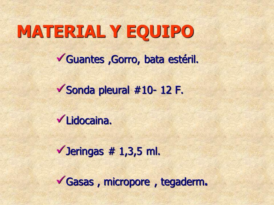 MATERIAL Y EQUIPO Guantes,Gorro, bata estéril. Guantes,Gorro, bata estéril. Sonda pleural #10- 12 F. Sonda pleural #10- 12 F. Lidocaina. Lidocaina. Je