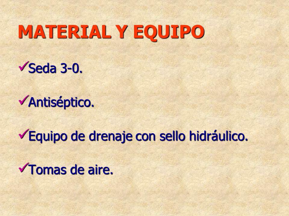 MATERIAL Y EQUIPO Seda 3-0. Seda 3-0. Antiséptico. Antiséptico. Equipo de drenaje con sello hidráulico. Equipo de drenaje con sello hidráulico. Tomas