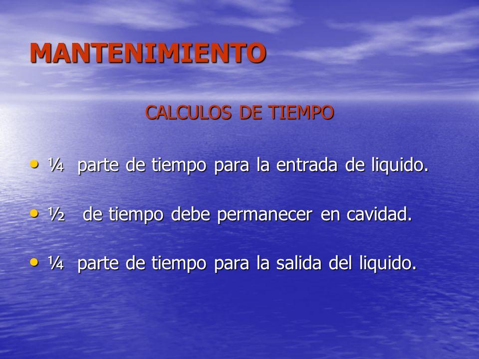 MANTENIMIENTO CALCULOS DE TIEMPO ¼ parte de tiempo para la entrada de liquido. ¼ parte de tiempo para la entrada de liquido. ½ de tiempo debe permanec