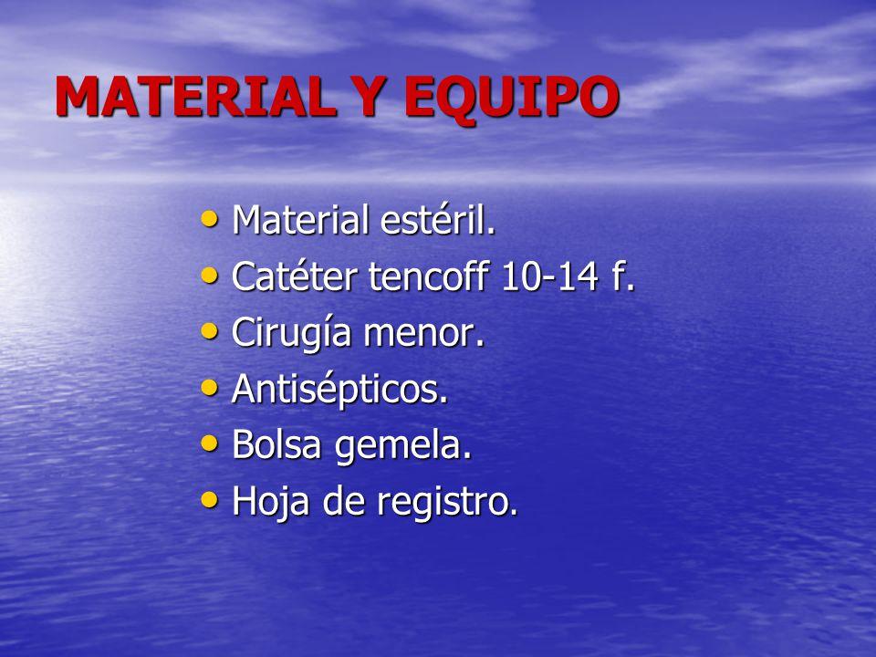 MATERIAL Y EQUIPO Material estéril. Material estéril. Catéter tencoff 10-14 f. Catéter tencoff 10-14 f. Cirugía menor. Cirugía menor. Antisépticos. An