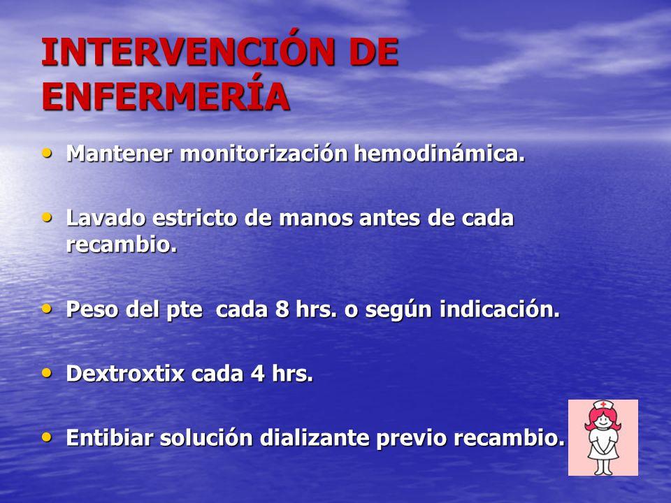 Mantener monitorización hemodinámica. Mantener monitorización hemodinámica. Lavado estricto de manos antes de cada recambio. Lavado estricto de manos