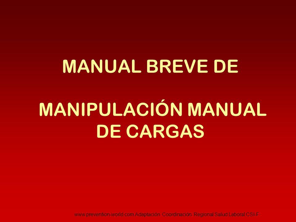 INTRODUCCIÓN  Según datos de la U.E.: 25% de los trabajadores sufren dolores de espalda y un 23% dolores musculares Según la Agencia Europea para la Seguridad y Salud en el Trabajo, una de las principales causas son la manipulación manipulación de cargas o torsión frecuente de la espalda, siendo, además una de las más importantes causas de baja laboral en Europa  Legislación aplicable: - Ley 31/1995, de 8 de noviembre de PRL - R.D.