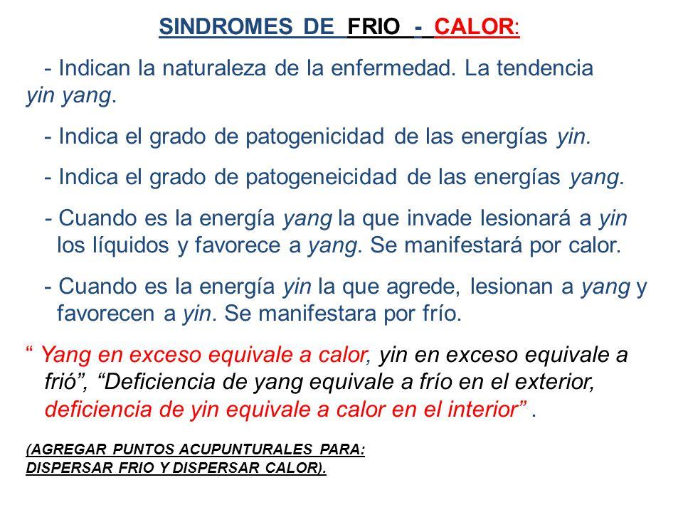 SINDROMES DE FRIO - CALOR: - Indican la naturaleza de la enfermedad.