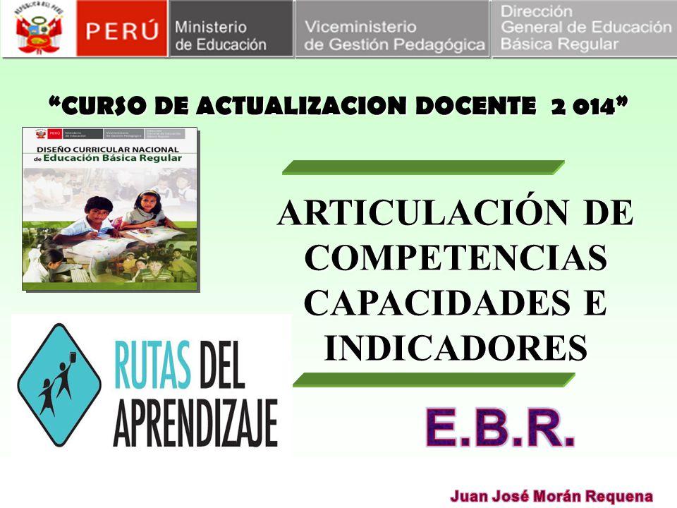 CURSO DE ACTUALIZACION DOCENTE 2 014 ARTICULACIÓN DE COMPETENCIAS CAPACIDADES E INDICADORES