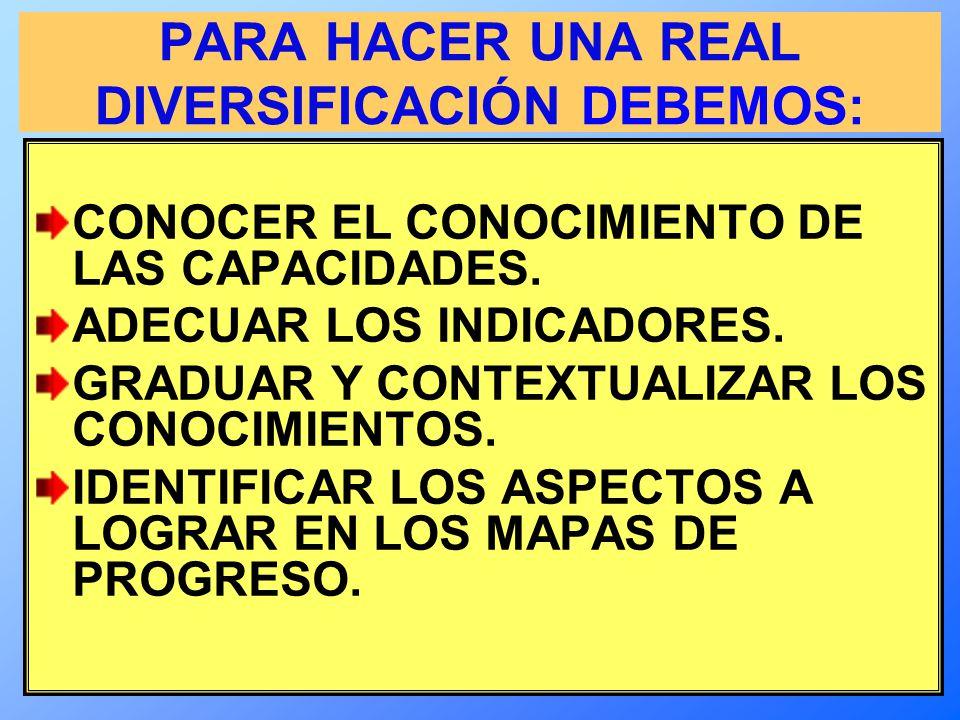 PARA HACER UNA REAL DIVERSIFICACIÓN DEBEMOS: CONOCER EL CONOCIMIENTO DE LAS CAPACIDADES.