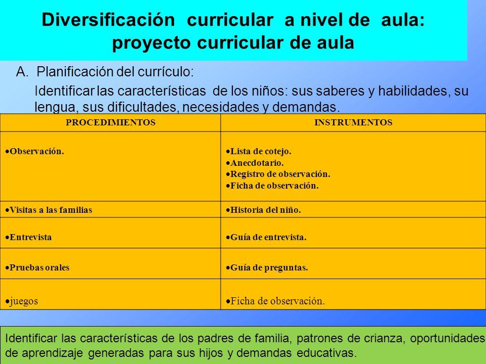 Diversificación curricular a nivel de aula: proyecto curricular de aula A.