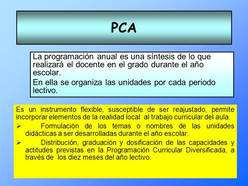 PCA La programación anual es una síntesis de lo que realizará el docente en el grado durante el año escolar.
