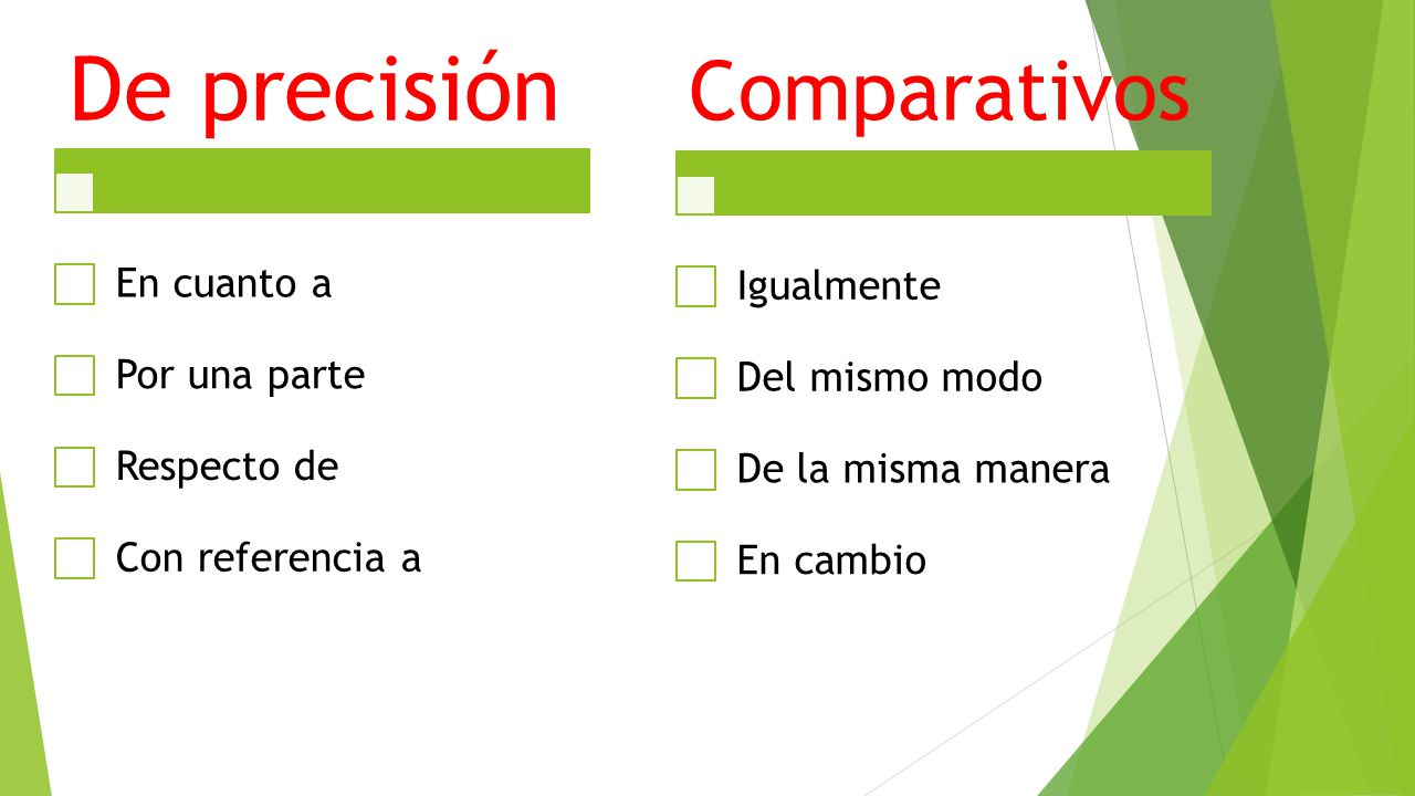 De precisión En cuanto a Por una parte Respecto de Con referencia a Comparativos Igualmente Del mismo modo De la misma manera En cambio