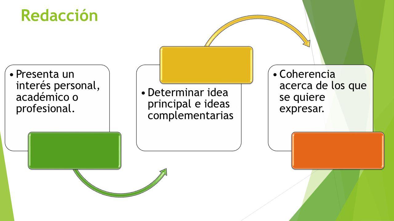 Redacción Presenta un interés personal, académico o profesional.