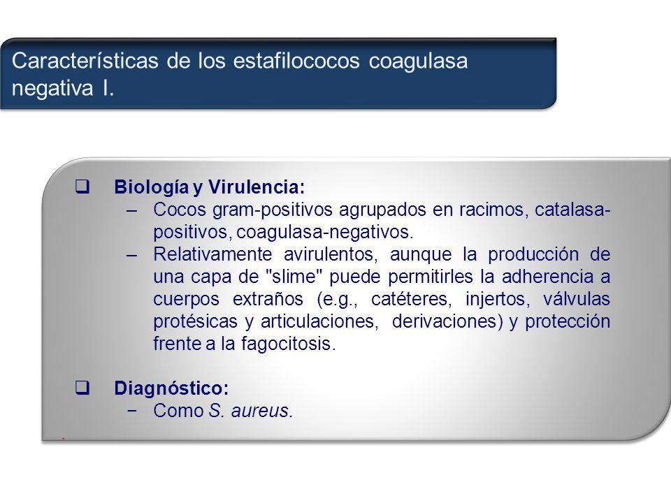 Características de los estafilococos coagulasa negativa I.