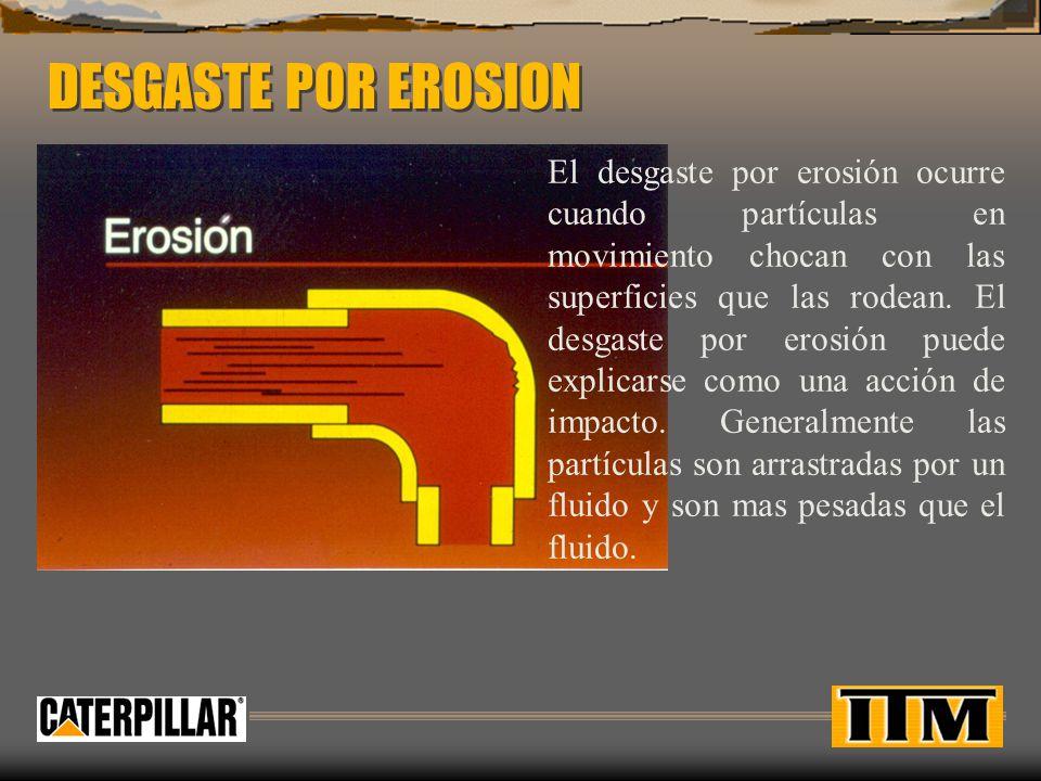 DESGASTE POR EROSION El desgaste por erosión ocurre cuando partículas en movimiento chocan con las superficies que las rodean.
