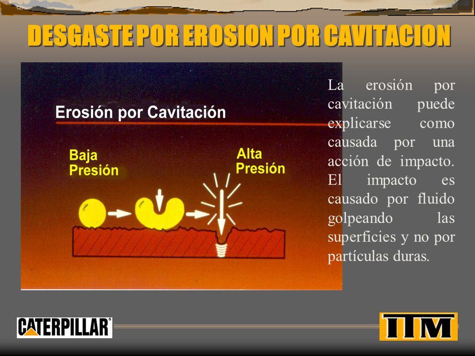 DESGASTE POR EROSION POR CAVITACION La erosión por cavitación puede explicarse como causada por una acción de impacto.