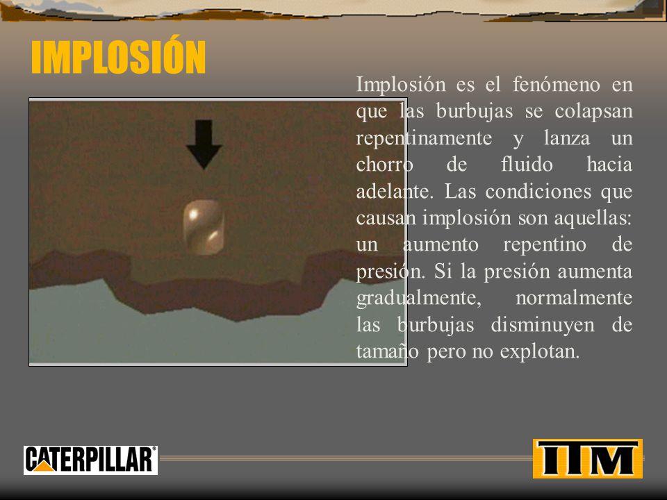 Implosión es el fenómeno en que las burbujas se colapsan repentinamente y lanza un chorro de fluido hacia adelante.