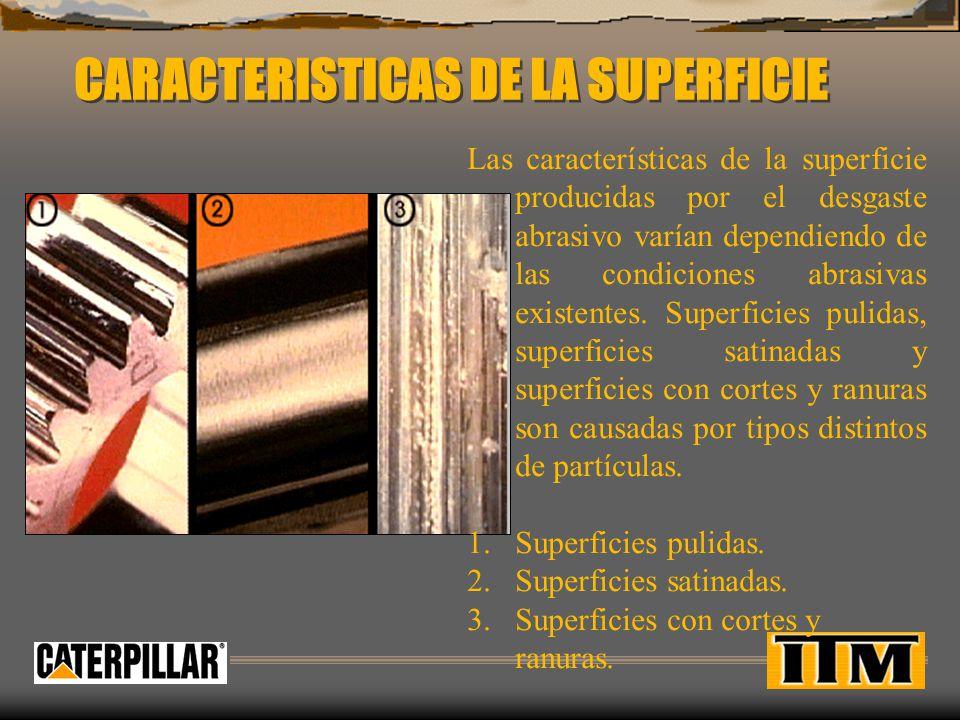 SUPERFICIE PULIDA Partículas abrasivas son pequeñas y duras, como partículas de polvo, pueden entrar en la mayoría de los sistemas y producen cortes y arañazos finos que dejan una apariencia pulida.