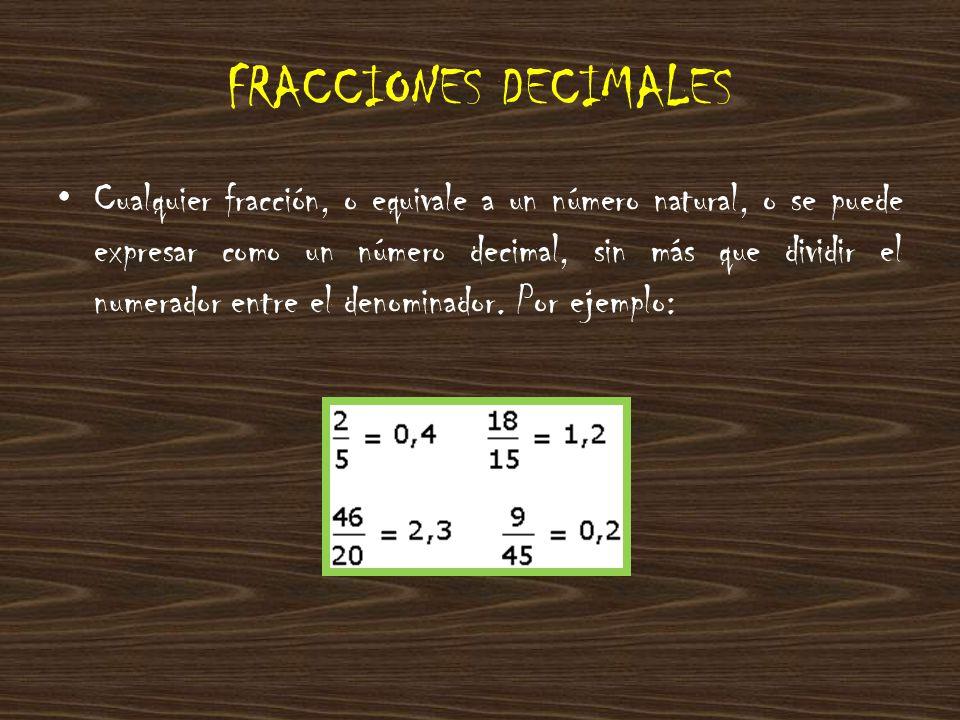 Pero también al revés: podemos expresar cualquier número decimal como una fracción, que se llama fracción decimal.