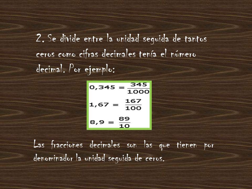 Las fracciones decimales son las que tienen por denominador la unidad seguida de ceros.