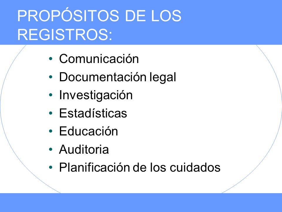 PROPÓSITOS DE LOS REGISTROS: Comunicación Documentación legal Investigación Estadísticas Educación Auditoria Planificación de los cuidados