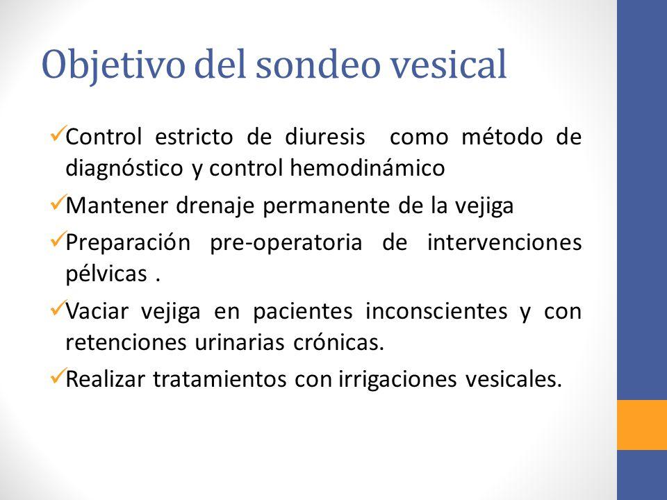 Objetivo del sondeo vesical Control estricto de diuresis como método de diagnóstico y control hemodinámico Mantener drenaje permanente de la vejiga Pr