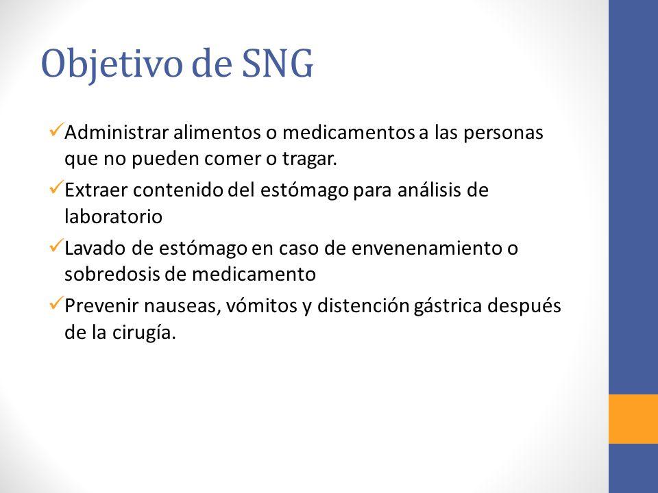 Objetivo de SNG Administrar alimentos o medicamentos a las personas que no pueden comer o tragar. Extraer contenido del estómago para análisis de labo