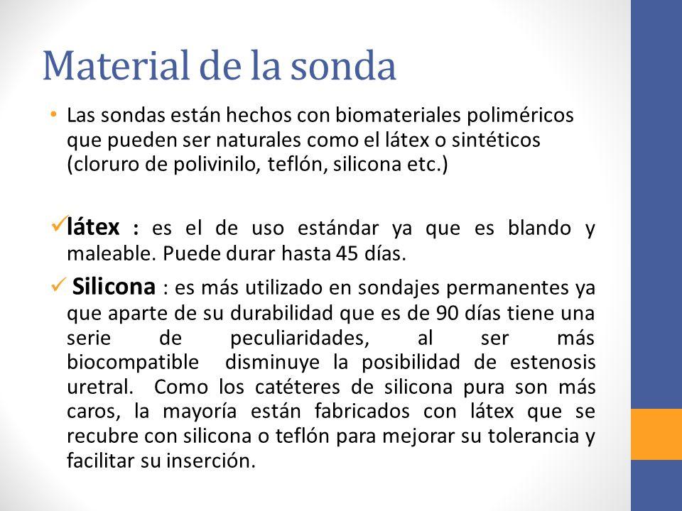 Material de la sonda Las sondas están hechos con biomateriales poliméricos que pueden ser naturales como el látex o sintéticos (cloruro de polivinilo,