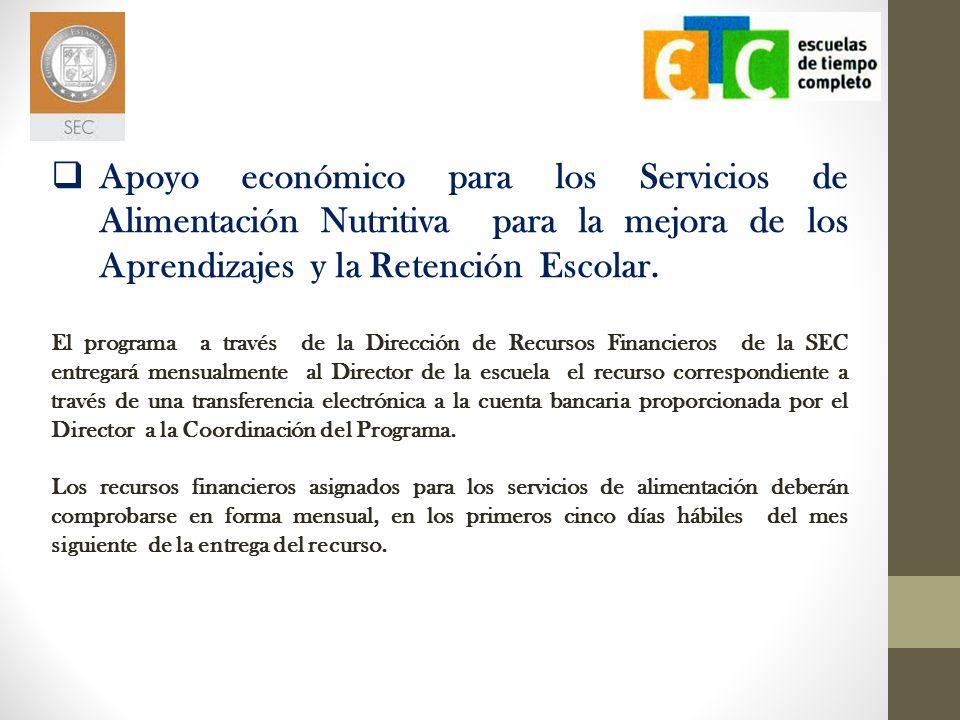 El programa a través de la Dirección de Recursos Financieros de la SEC entregará mensualmente al Director de la escuela el recurso correspondiente a t