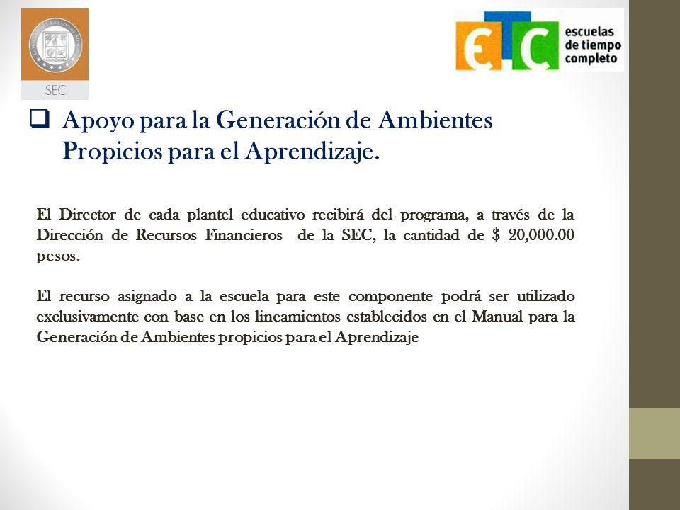 El Director de cada plantel educativo recibirá del programa, a través de la Dirección de Recursos Financieros de la SEC, la cantidad de 70,000.00 pesos.