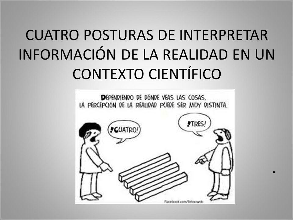 CUATRO POSTURAS DE INTERPRETAR INFORMACIÓN DE LA REALIDAD EN UN CONTEXTO CIENTÍFICO.