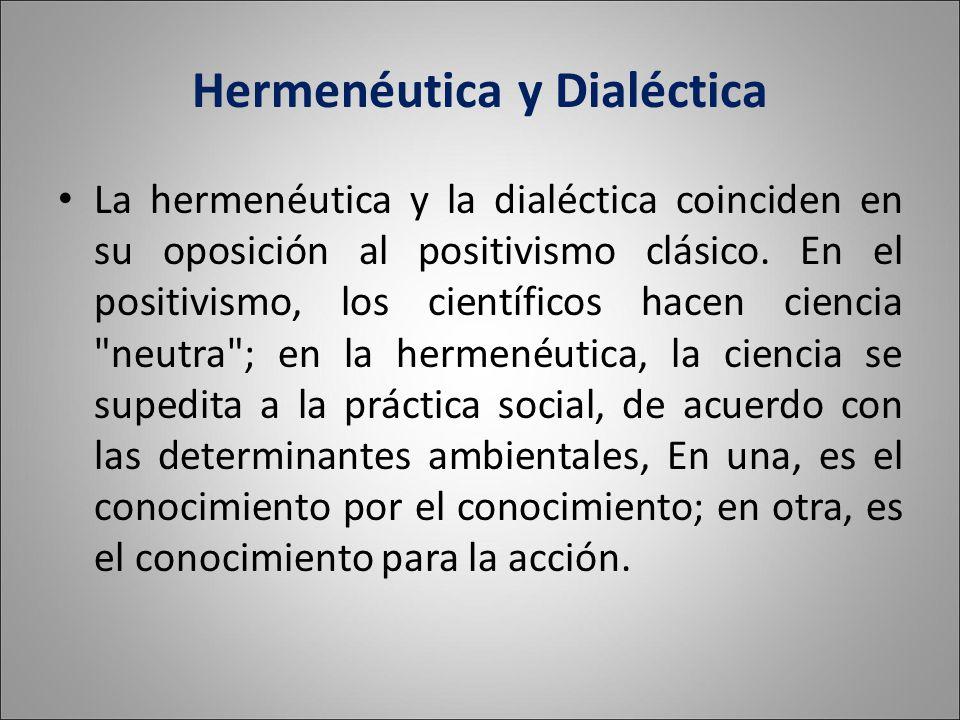 Hermenéutica y Dialéctica La hermenéutica y la dialéctica coinciden en su oposición al positivismo clásico.