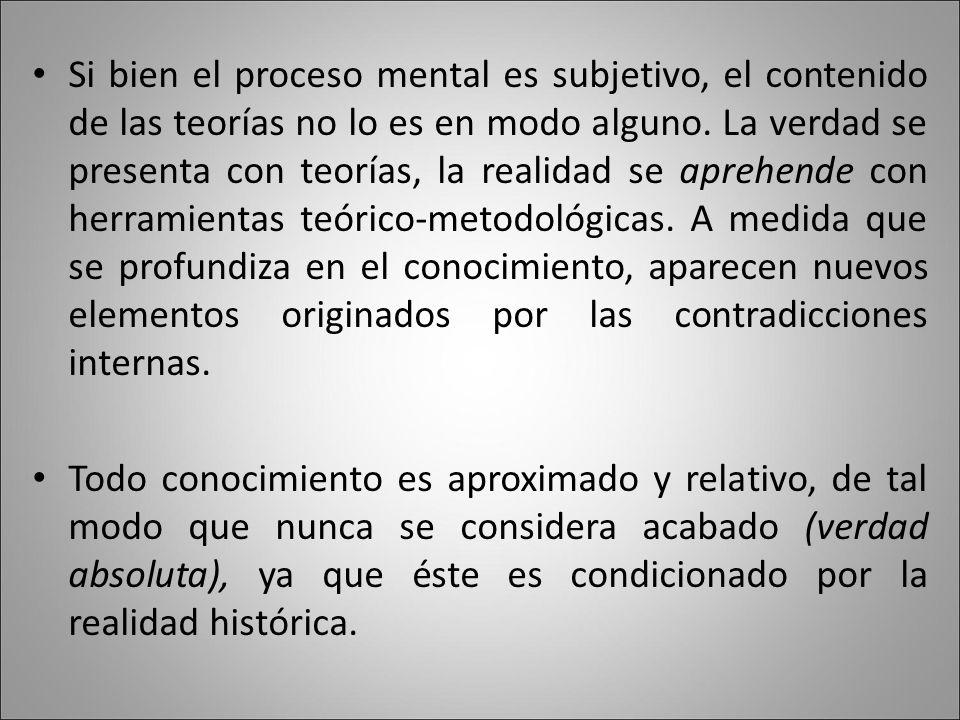 Si bien el proceso mental es subjetivo, el contenido de las teorías no lo es en modo alguno.
