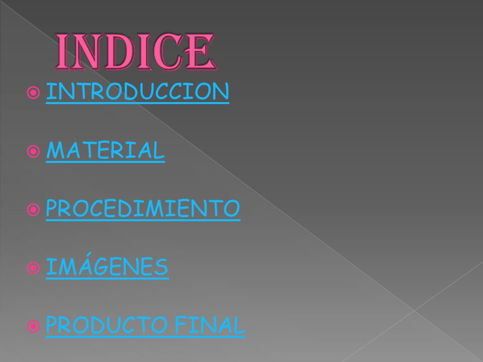  INTRODUCCION INTRODUCCION  MATERIAL MATERIAL  PROCEDIMIENTO PROCEDIMIENTO  IMÁGENES IMÁGENES  PRODUCTO FINAL PRODUCTO FINAL