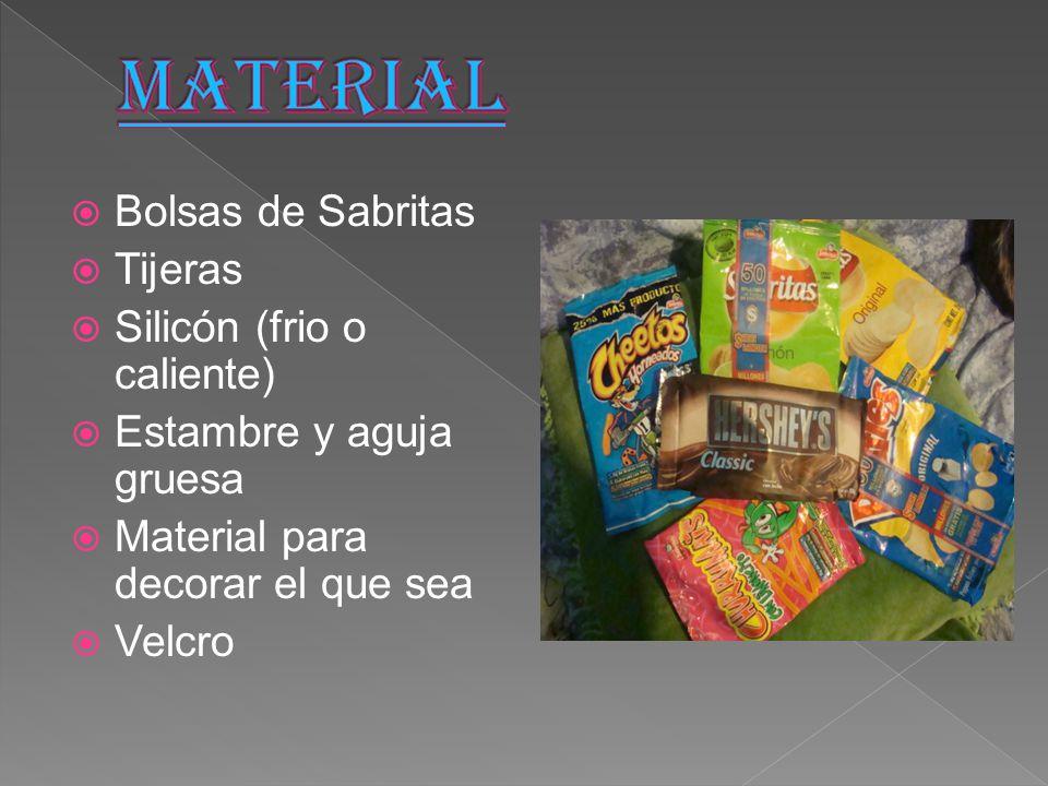  Bolsas de Sabritas  Tijeras  Silicón (frio o caliente)  Estambre y aguja gruesa  Material para decorar el que sea  Velcro