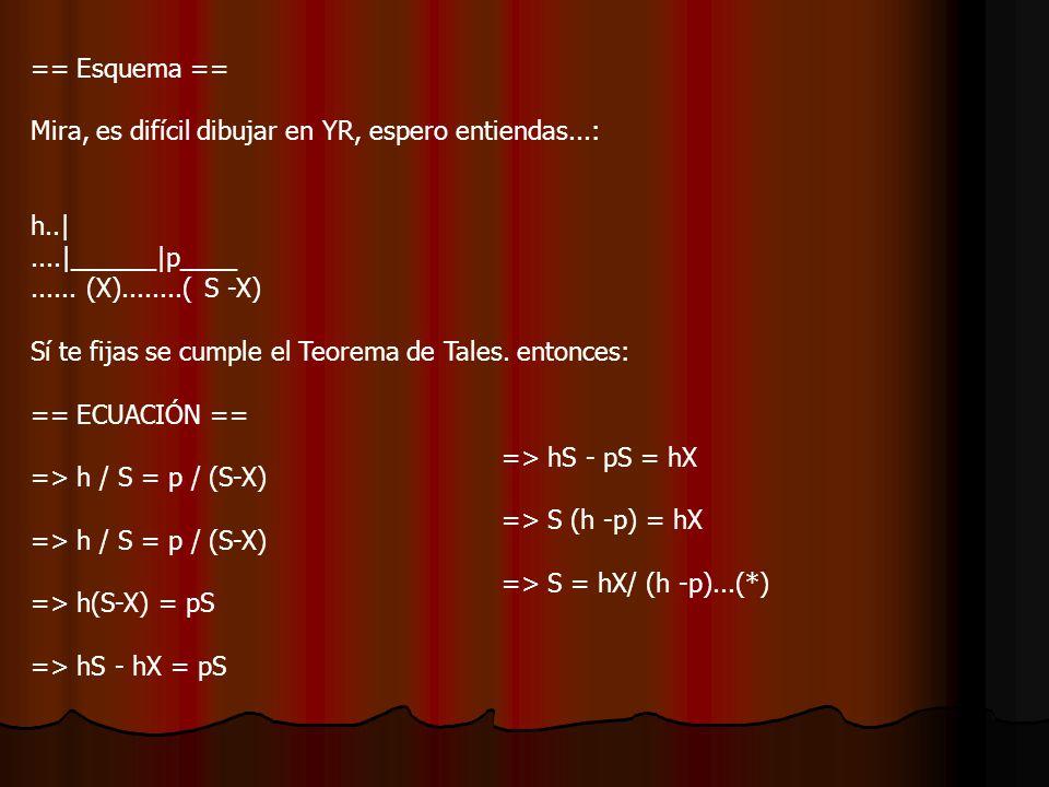 === ECUACIÓN == Ahora que tenemos todos los datos, derivamos inmplícitamente la ecuación (*), con respecto al tiempo t, fíjate bien en qué cosas con incognitas y cosas son función :) => S = hX/ (h -p) => S = hX /(h-p) Ahora reemplazamos los datos: => S = -45*2 / (45 -2) =>> S = -90/43 m/s Lugo La sombra disminuya apróximadamente a 2 m/s.