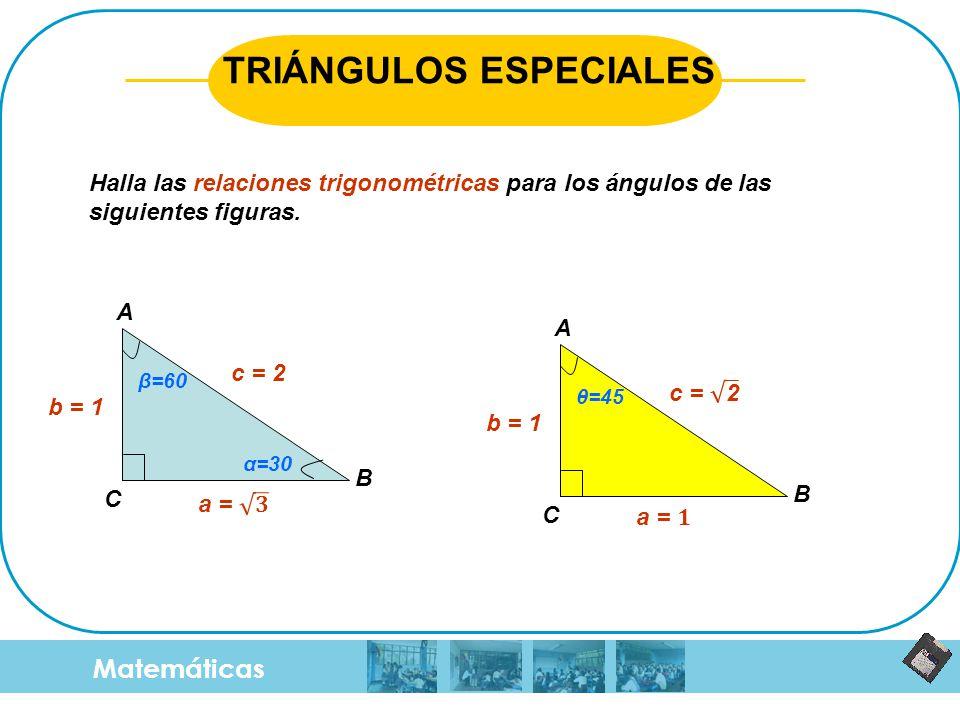 Matemáticas TRIÁNGULOS ESPECIALES b = 1 c = 2 β=60 A B C Halla las relaciones trigonométricas para los ángulos de las siguientes figuras. α=30 b = 1 θ